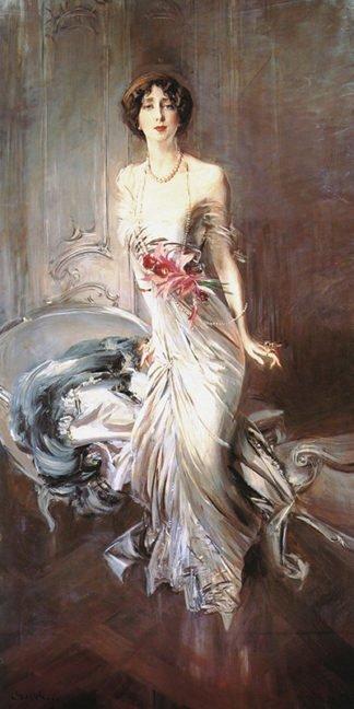 Giovanni Boldini La Signora in Rosa Stampa su Tela Vernice Pennellate Poster